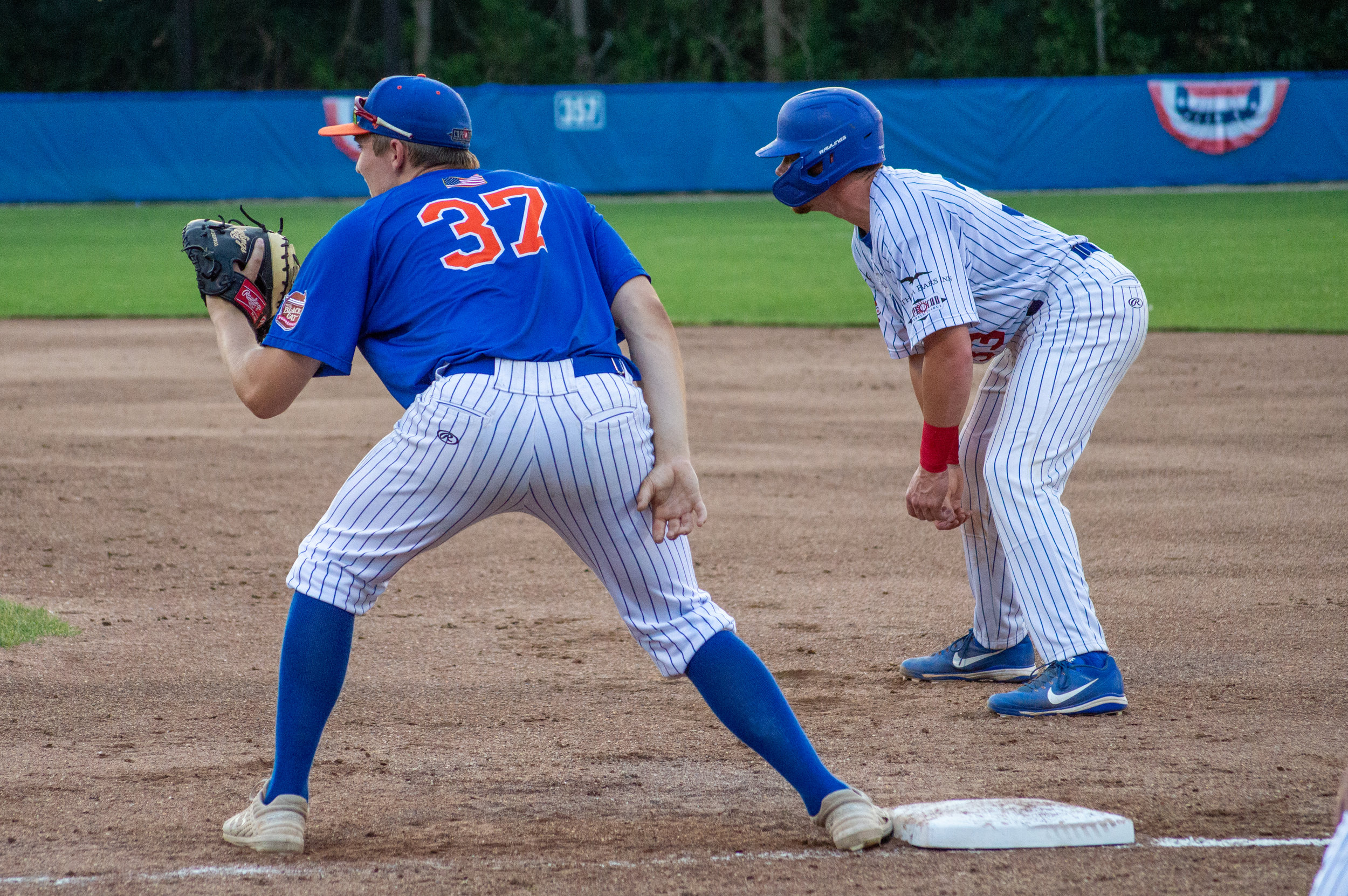 Ian Fair mans his new post at first base for the Hyannis Harbor Hawks in a game against the Chatham Anglers.  Photo by Matt Neiser.