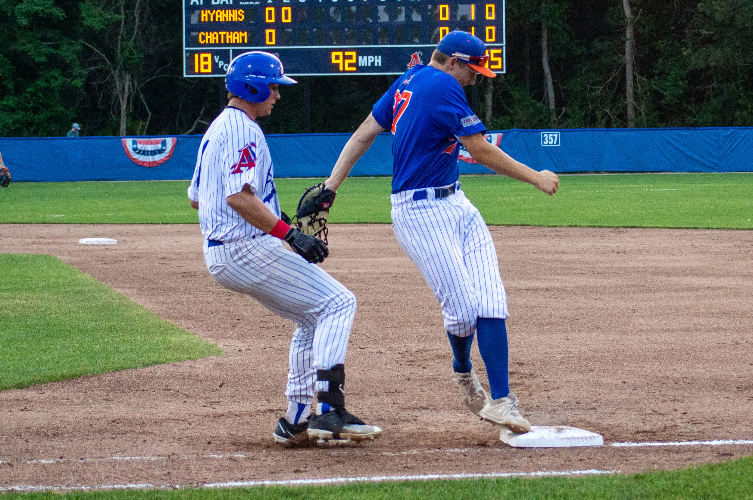 Fair tiptoes back to first base in a game against the Chatham Anglers.  Photo by Matt Neiser.