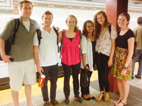 An excited team of LitCamp interns waiting for the subway to Broadway Housing Communities. (From left to right: Will, Adam, Rachael, Ashley, Eve and me, Katya.)