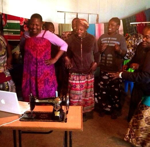 Dancing with the Power Women Moms LitClub of Kibera over Skype.