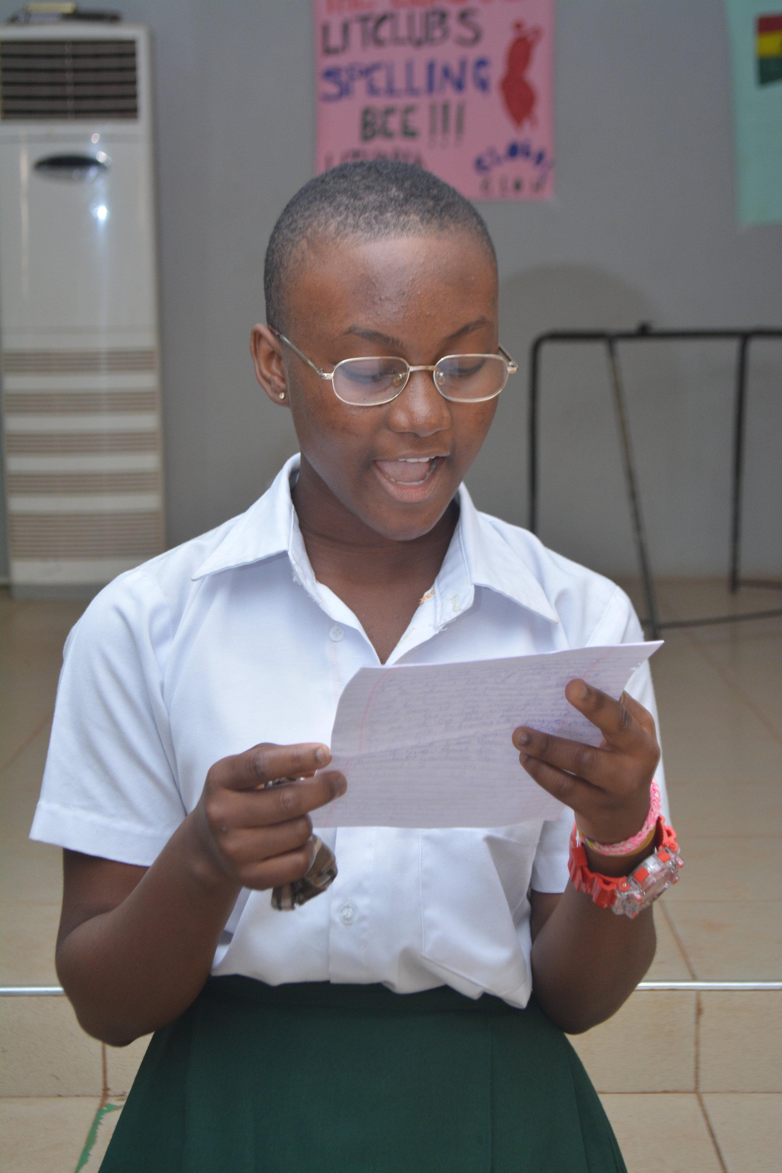 LitClub member Abubakari Raihana has become a leader in her school and her community.