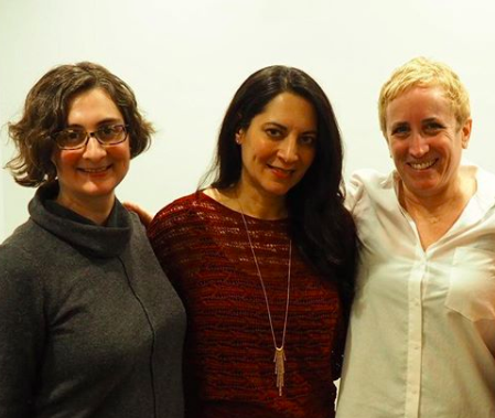 LitWorld's Executive Director Dorothy Lee (left) with Veera Hiranandani (center) and LitWorld's Founder, Pam Allyn (right).