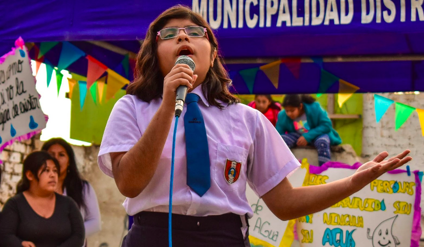 A LitKid in Nicaragua speaks to her community.