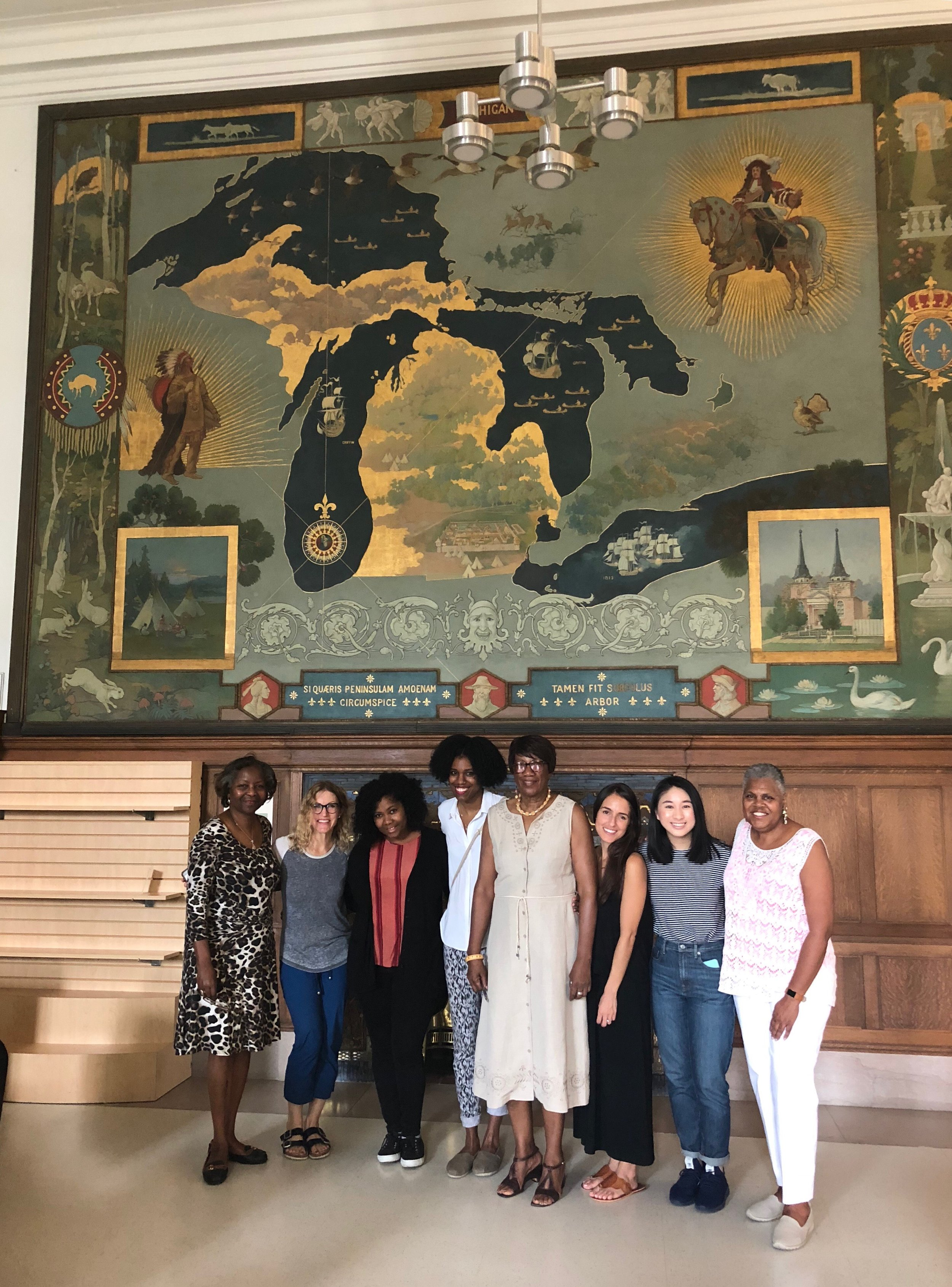 The team tours the Woodward Avenue Main Branch building of the Detroit Public Library.