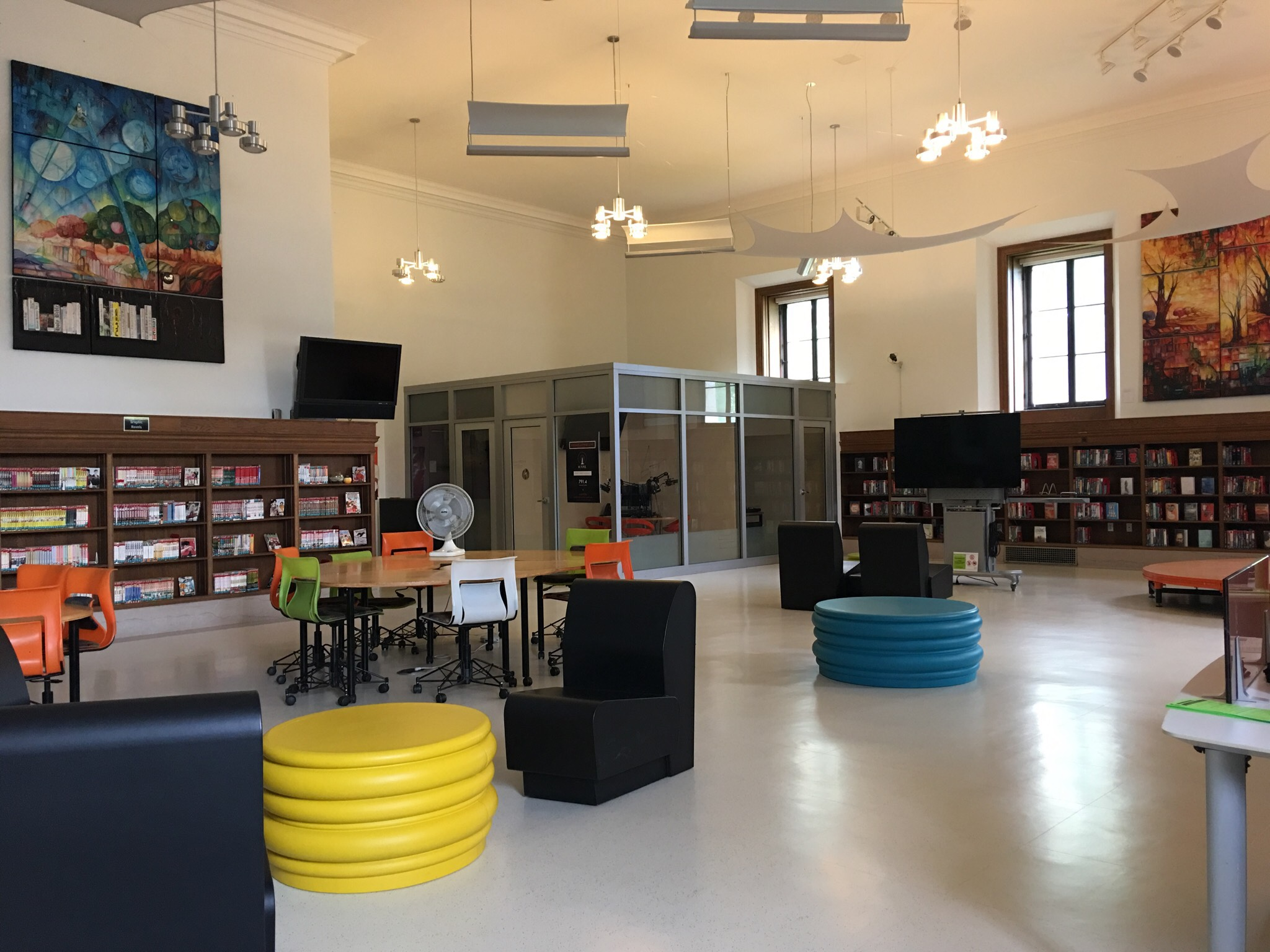 """The """"H.Y.P.E.Room,"""" a community space designed by and reserved for teenagers at the Detroit Public Library."""