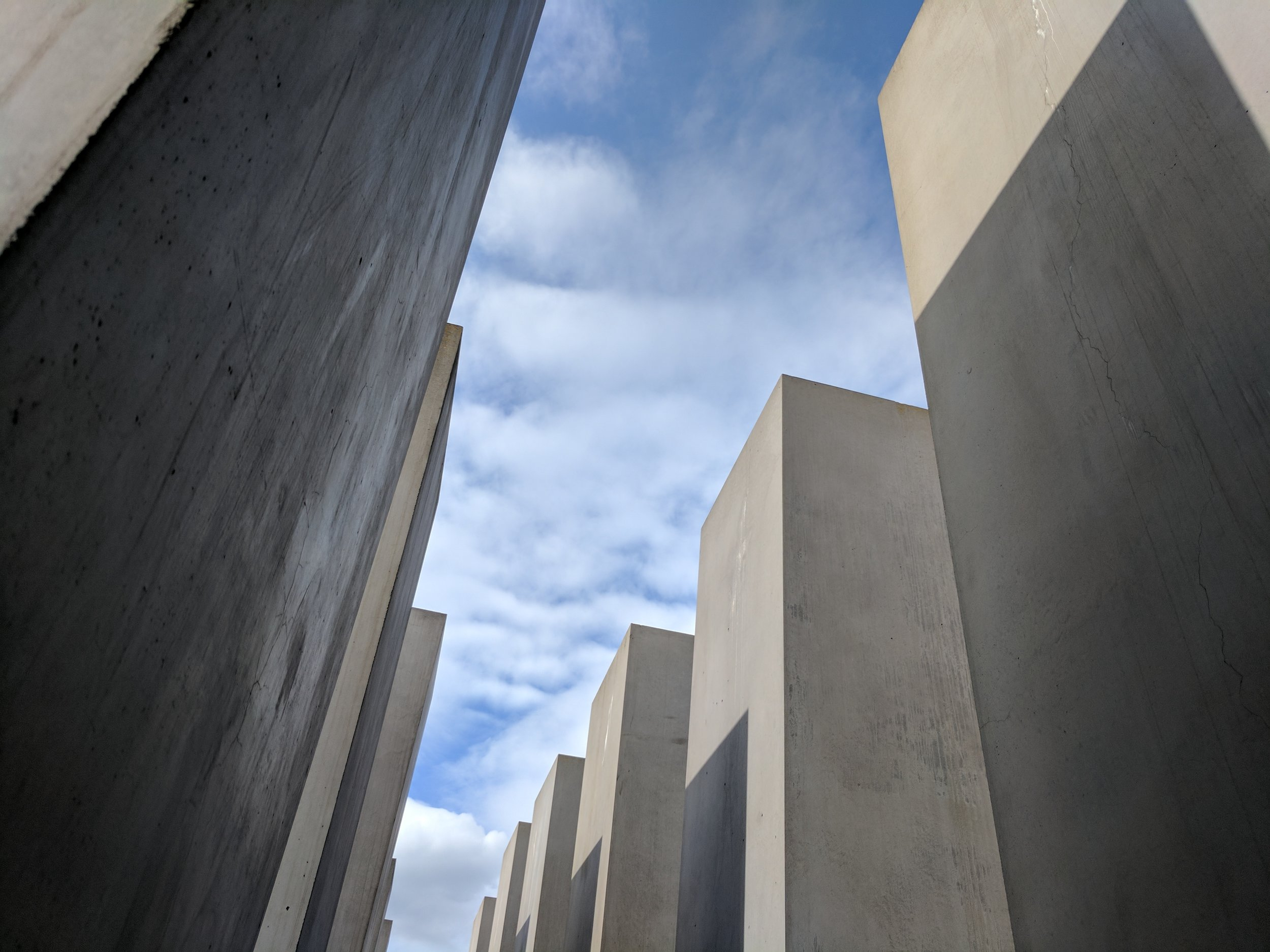 From within the memorial, I noticed that something about concrete stelae (also featured in the  Garden of Exile ) seems to resonate with this traumatic piece of Judaeo-Western history.