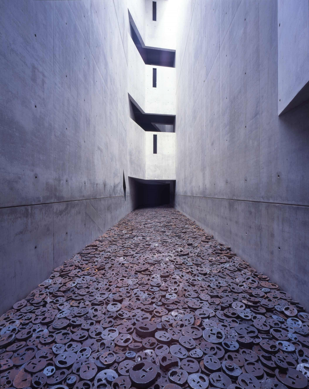 One of many such spaces throughout the Libeskind Building, the  Memory Void features the haunting  Schalechet  installation by Menashe Kadishman.  Photo:Jens Ziehe.