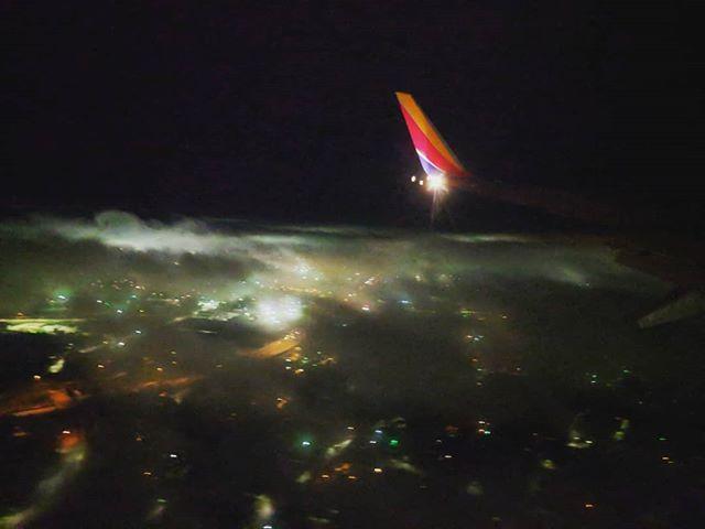 Descending through the mist.