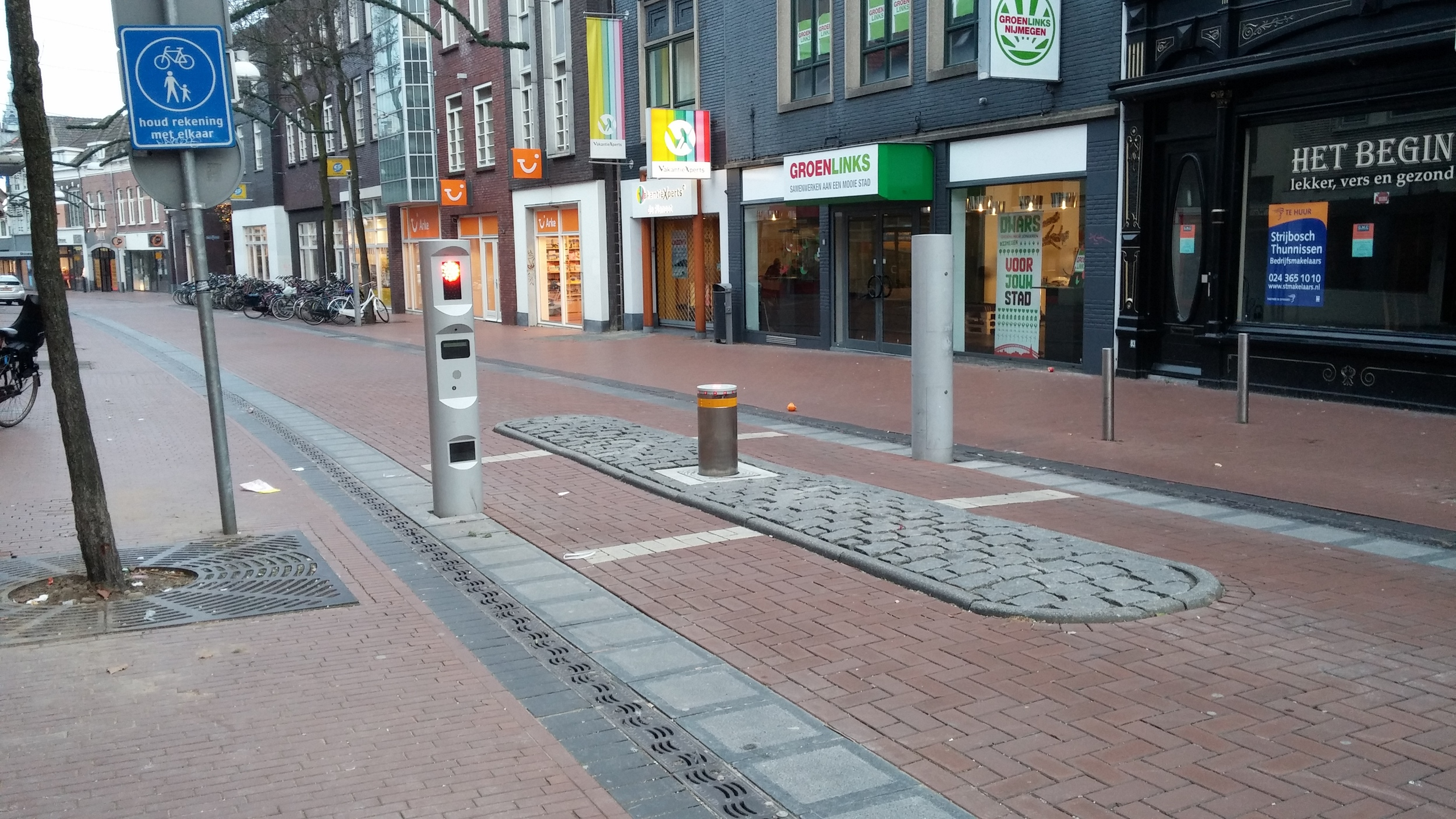 In the busier streets of downtown Nijmegen, they have these steel poles that go up and down to allow cars to go through, in addition to stop signs.