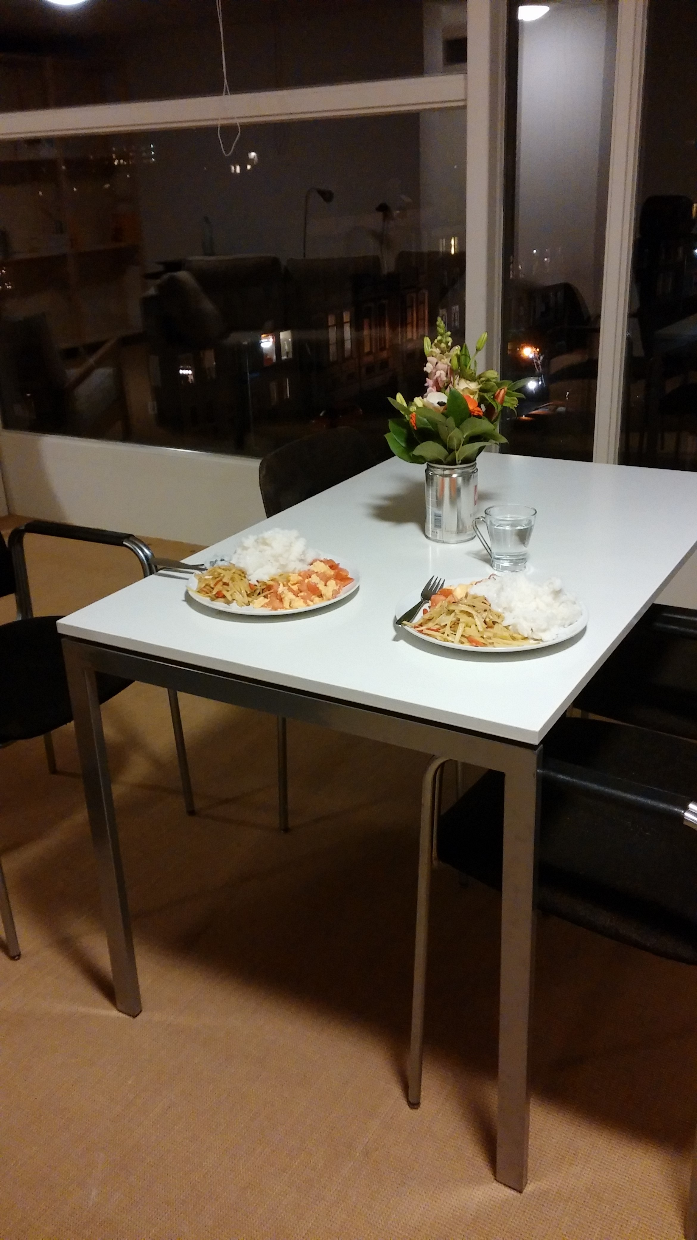 Dinner in the new apartment