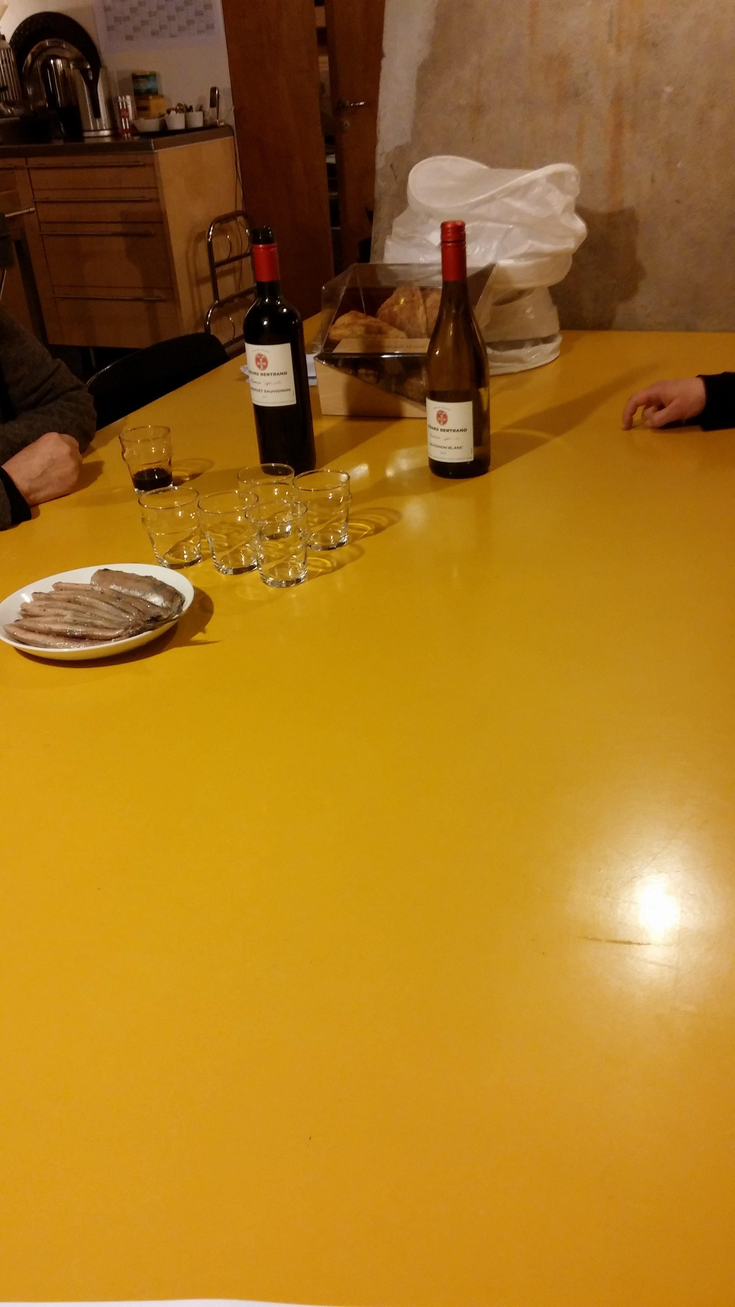 Wine tasting. With pickled herring.