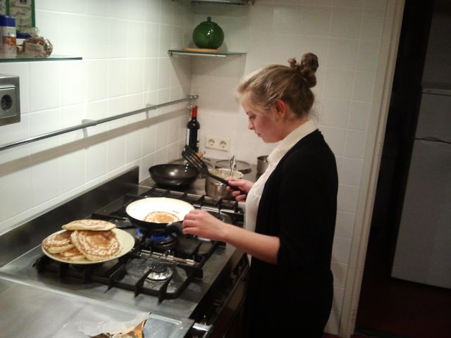 Making pancakes!  (photo credit: Katharina)