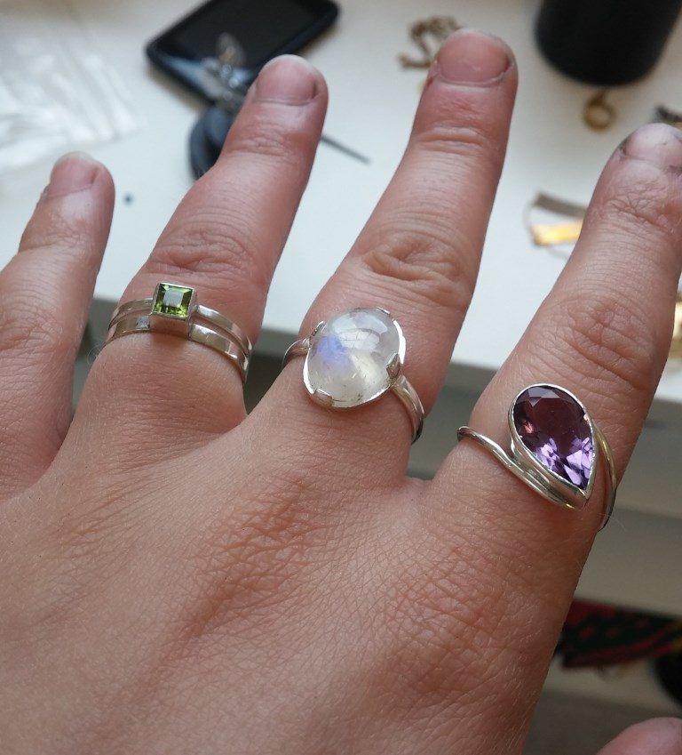 Peridot, Moonstone, and Amethyst in sterling silver
