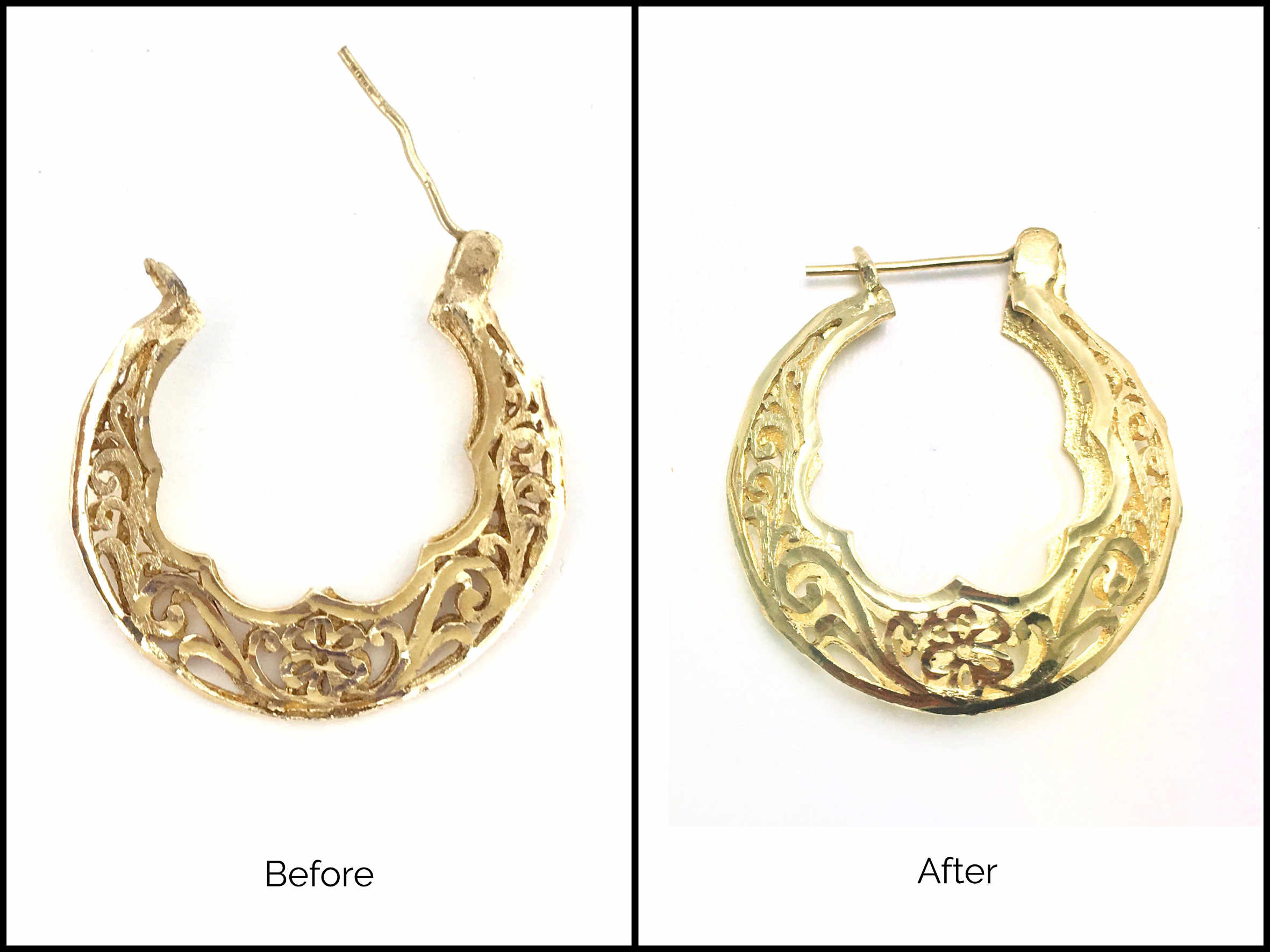 Re-shaped 14k Yellow Gold earring. It had been flattened and broken in several places and I restored its volume and shape.
