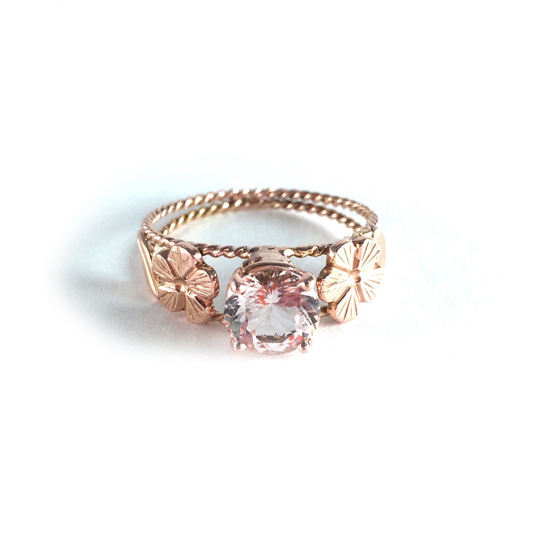 Hand crafted custom 14k rose gold ring, hand-engraved flowers, pink morganite for Adam and Sidney.