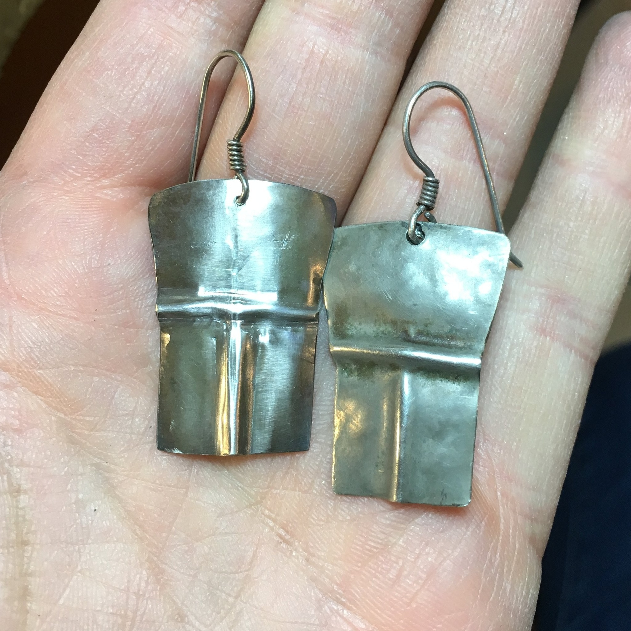Re-created a lost sterling silver earring (original one on the right)