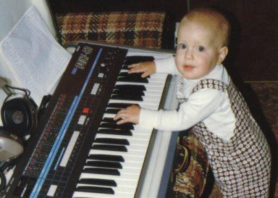 Jason at age 2 with his Dad's Synth