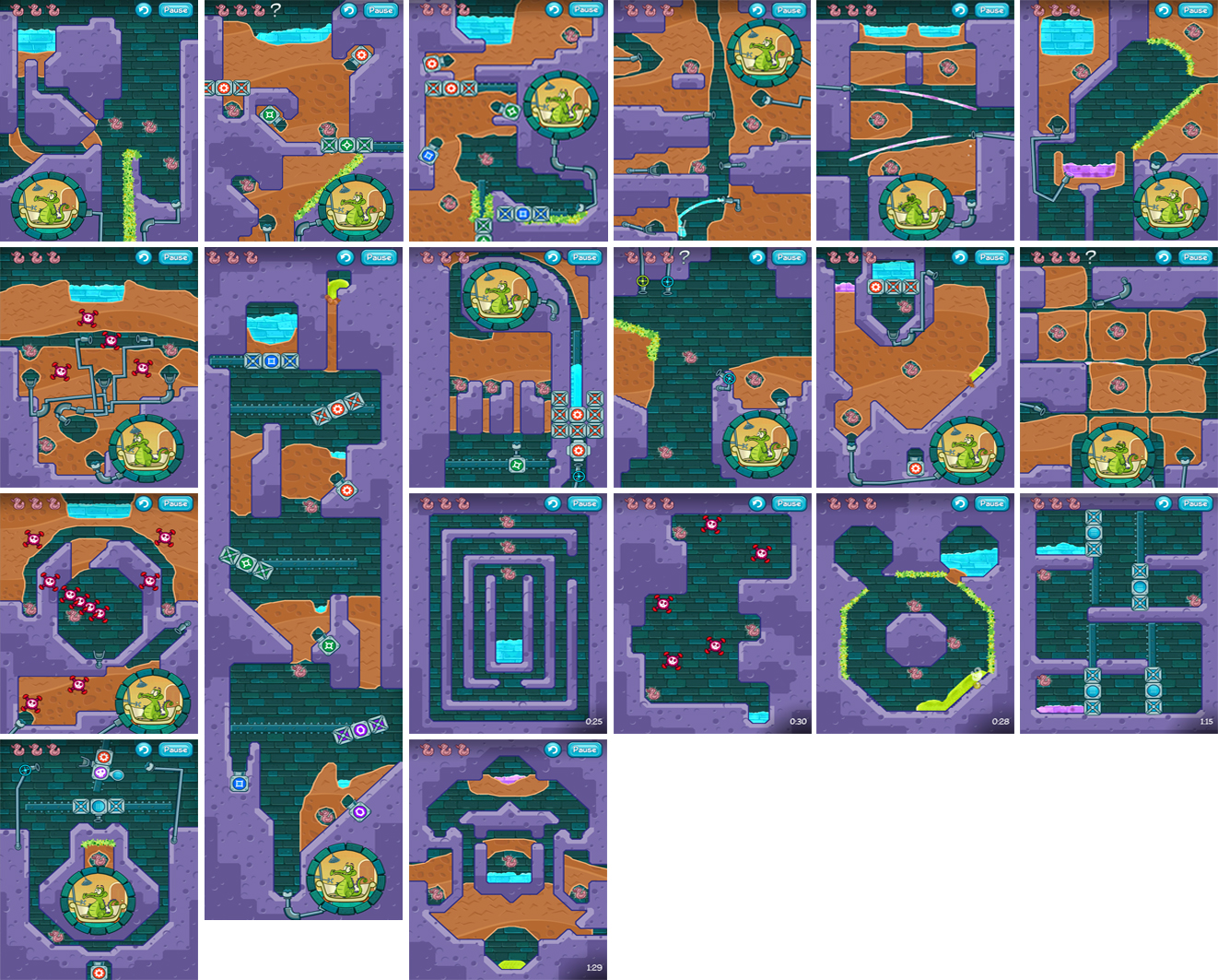 "Some of the levels I created for ""Where's My Water?"""