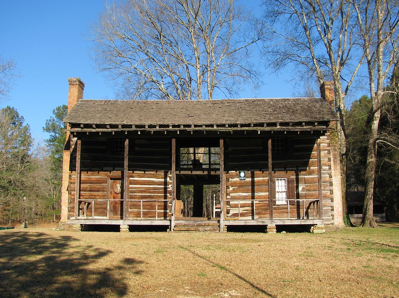 2 Story Dog  Trot style log house - The Chief George House would have looked very similar when first built.  This is The John Looney House near   Ashville, Alabama  , a rare example of a full two-story dogtrot. It was built circa 1818, during the   Alabama Territorial   period. From Wikipedia