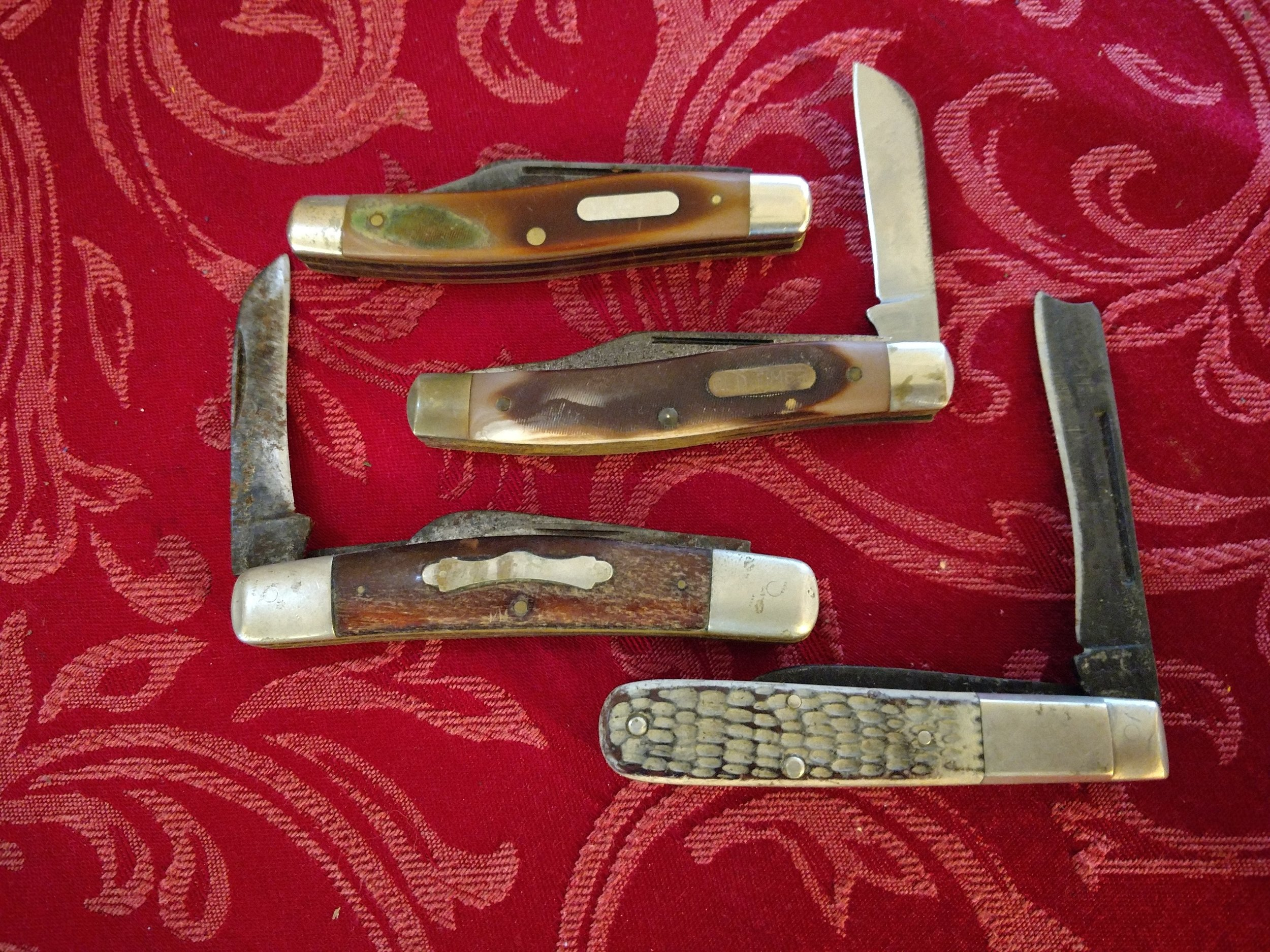 My knife collection - the top 2 belonged to my Grandfathers and the bottom 2 were my Great-Grandfathers'
