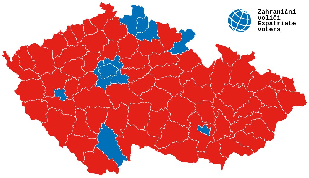 The red regions voted for Zeman in 2013, the blue regions Schwarzenberg. Prague is the blue region in the centre.