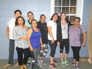 Flor with fellow Diabetes Prevention Program participants before a group workout at the YMCA.