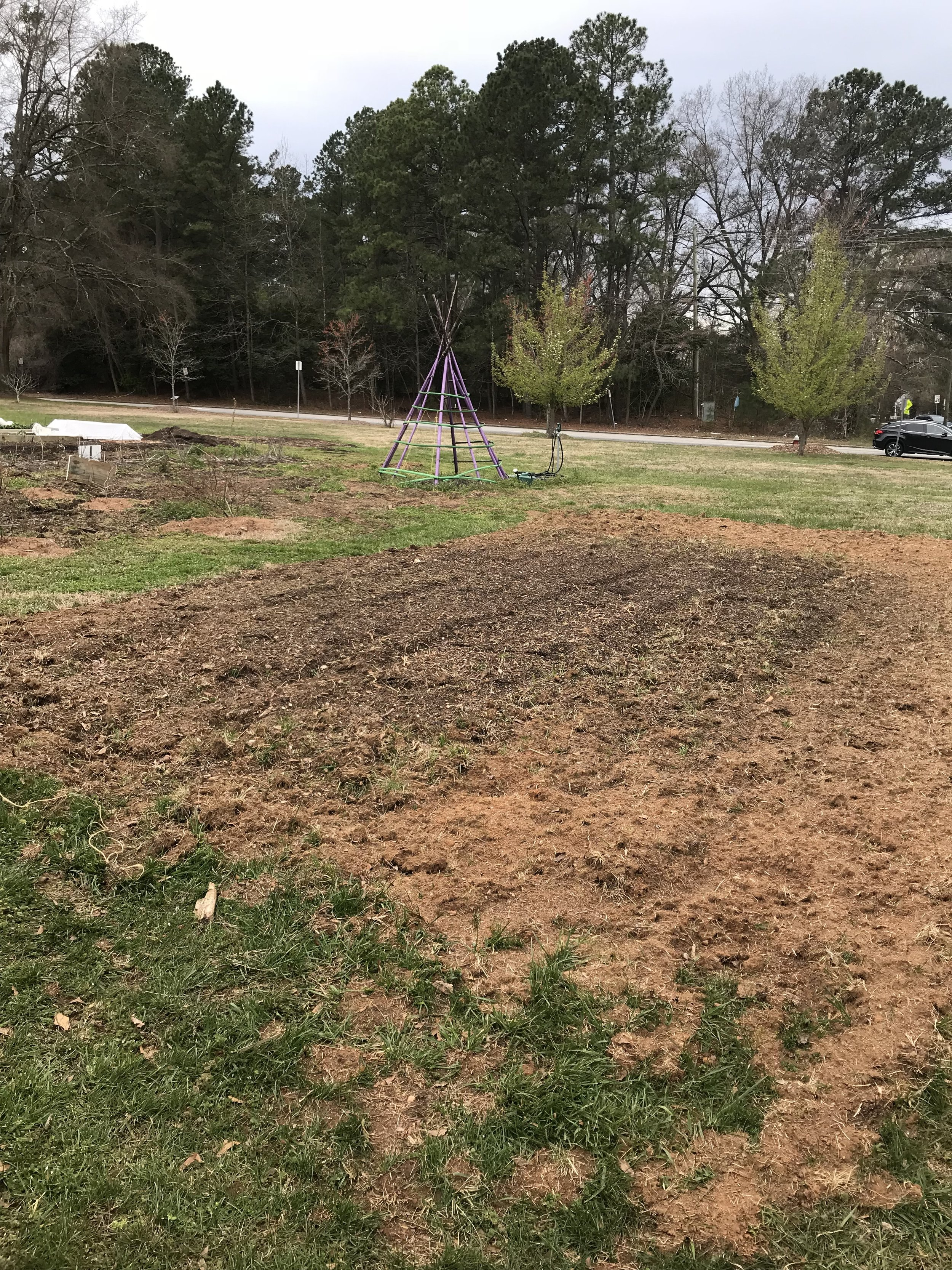 Clearing the soil before laying the groundwork for the hoop house.