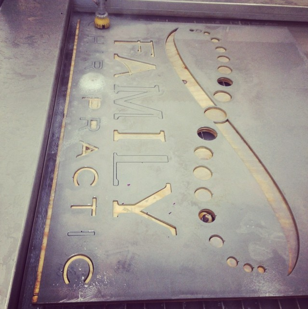 Waterjet Sign by Constructed Matter