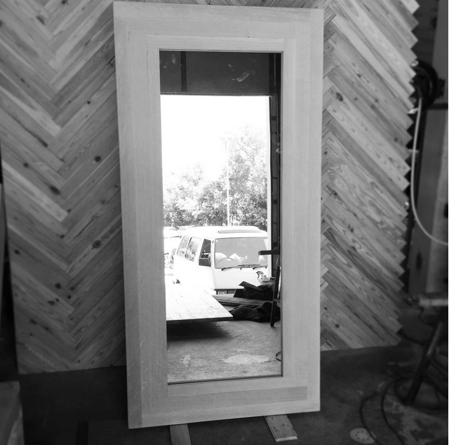 Quarter Sawn White Oak Mirror Door by Constructed Matter