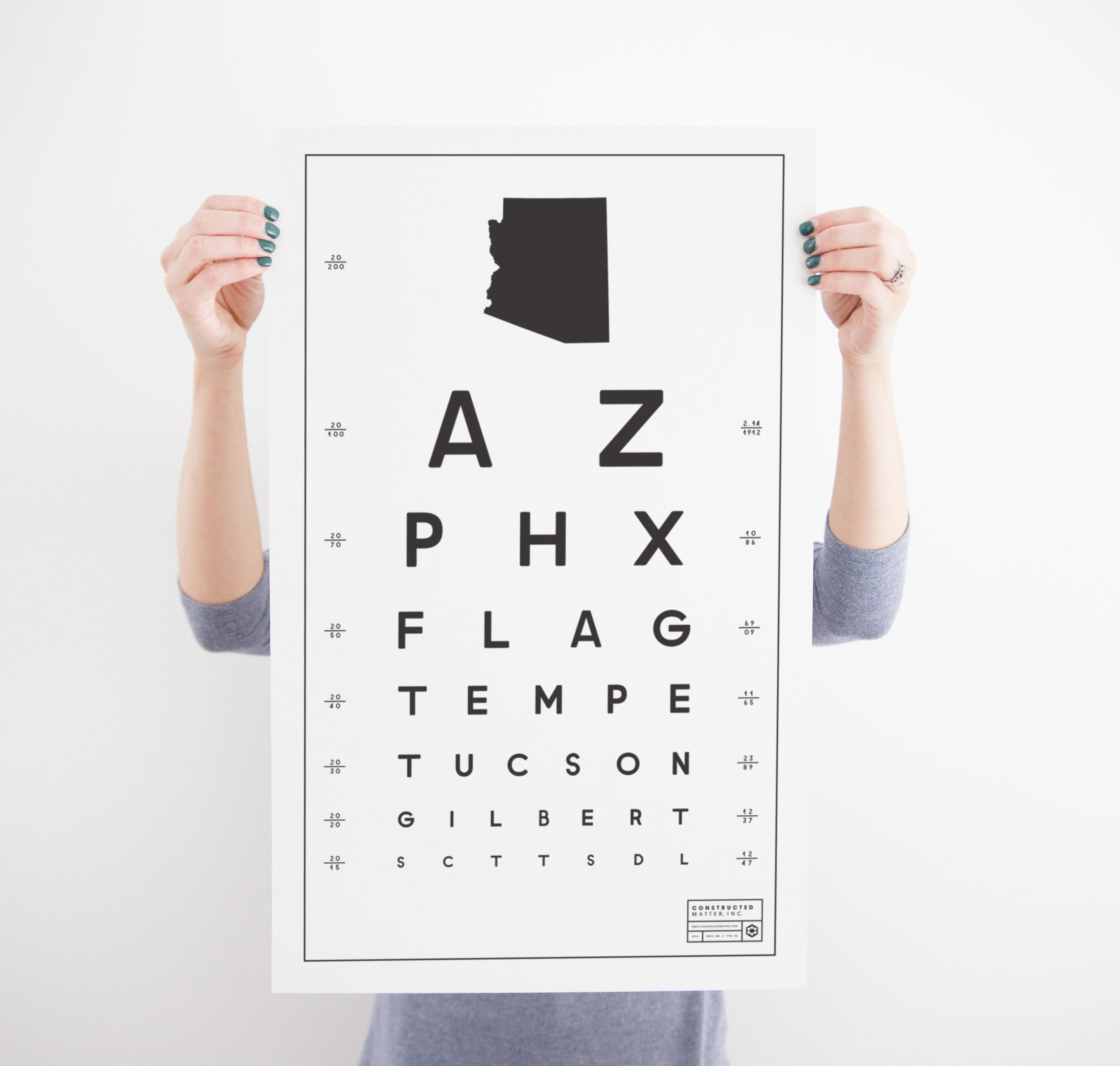"AZ Eye Chart 15"" x 24"" - $20.95 Wholesale / $48.95 MSRP"