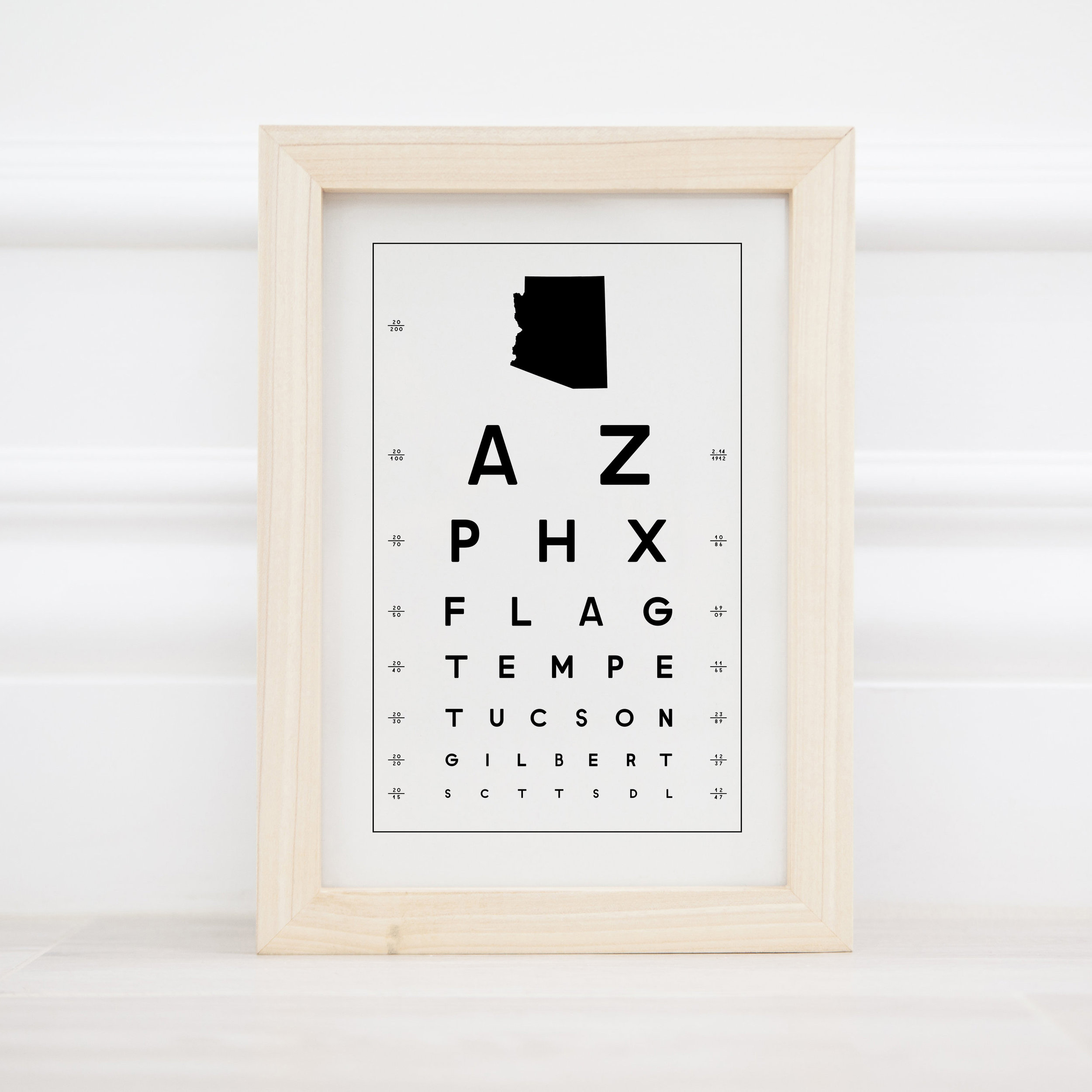 "State Eye Chart 6"" x 9"" - $8.00 Wholesale / $18.95 MSRP (50 states)"