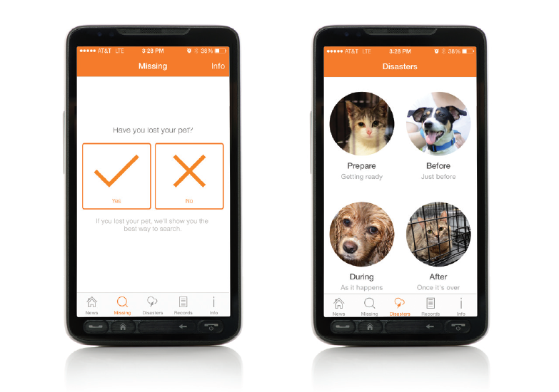 ASPCA mobile app interface. Photo courtesy of the ASPCA.
