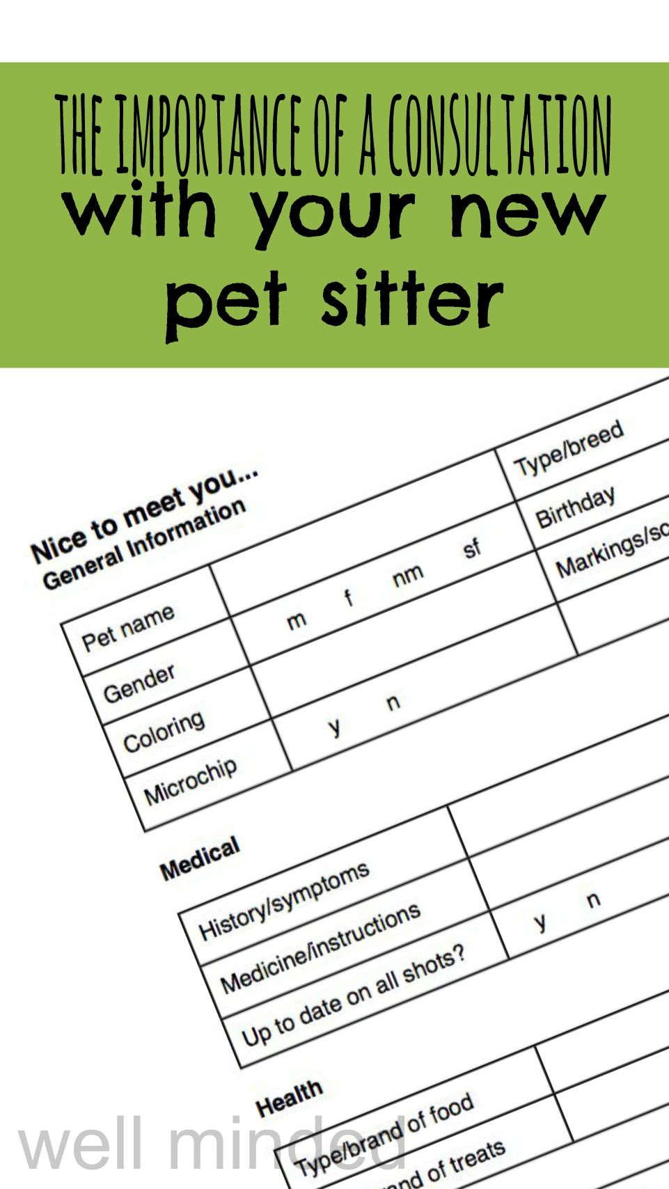 The importance of a consultation with your new pet sitter.