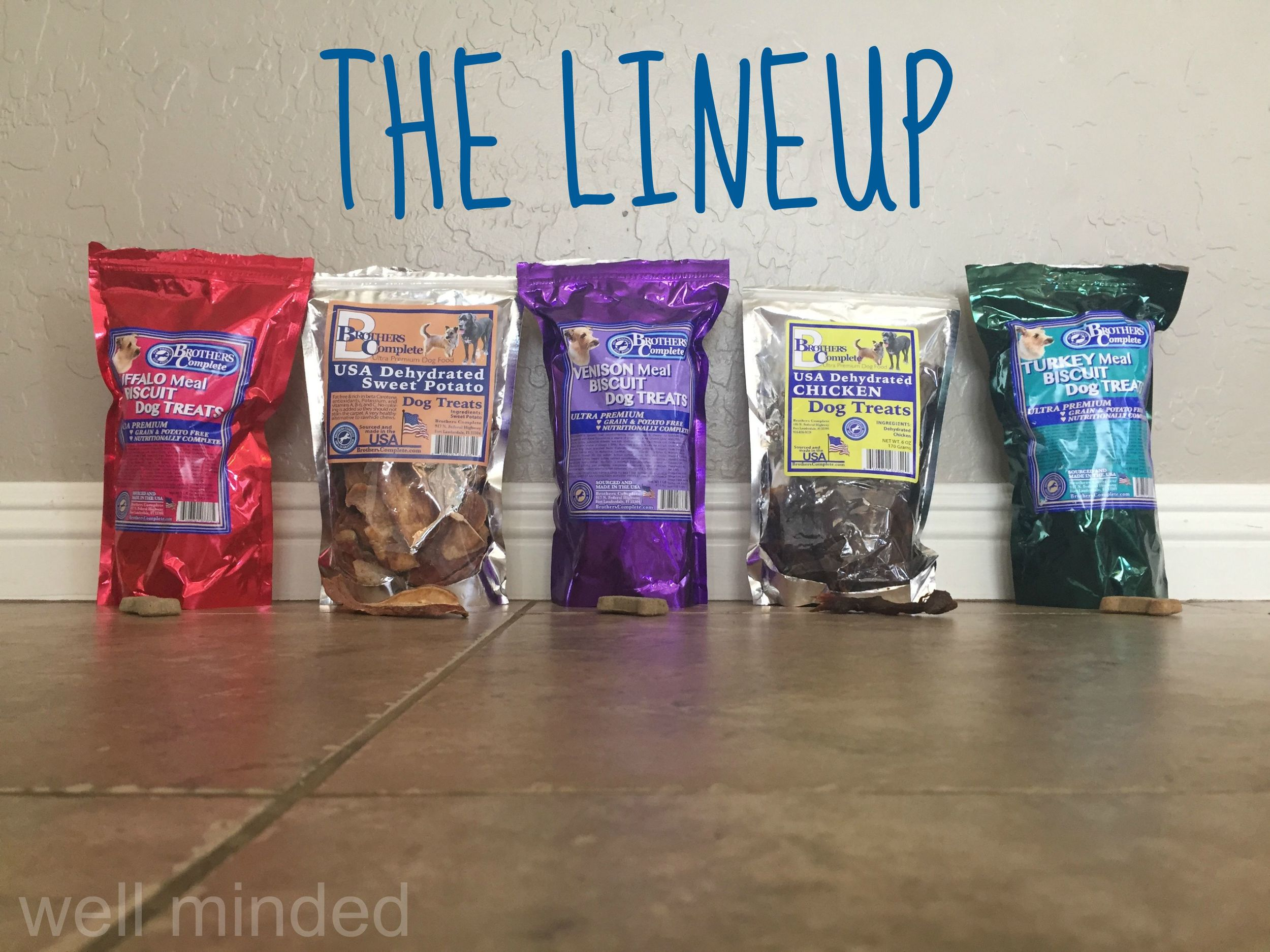 The complete lineup of Brothers Complete dog treats, ready to be sampled.