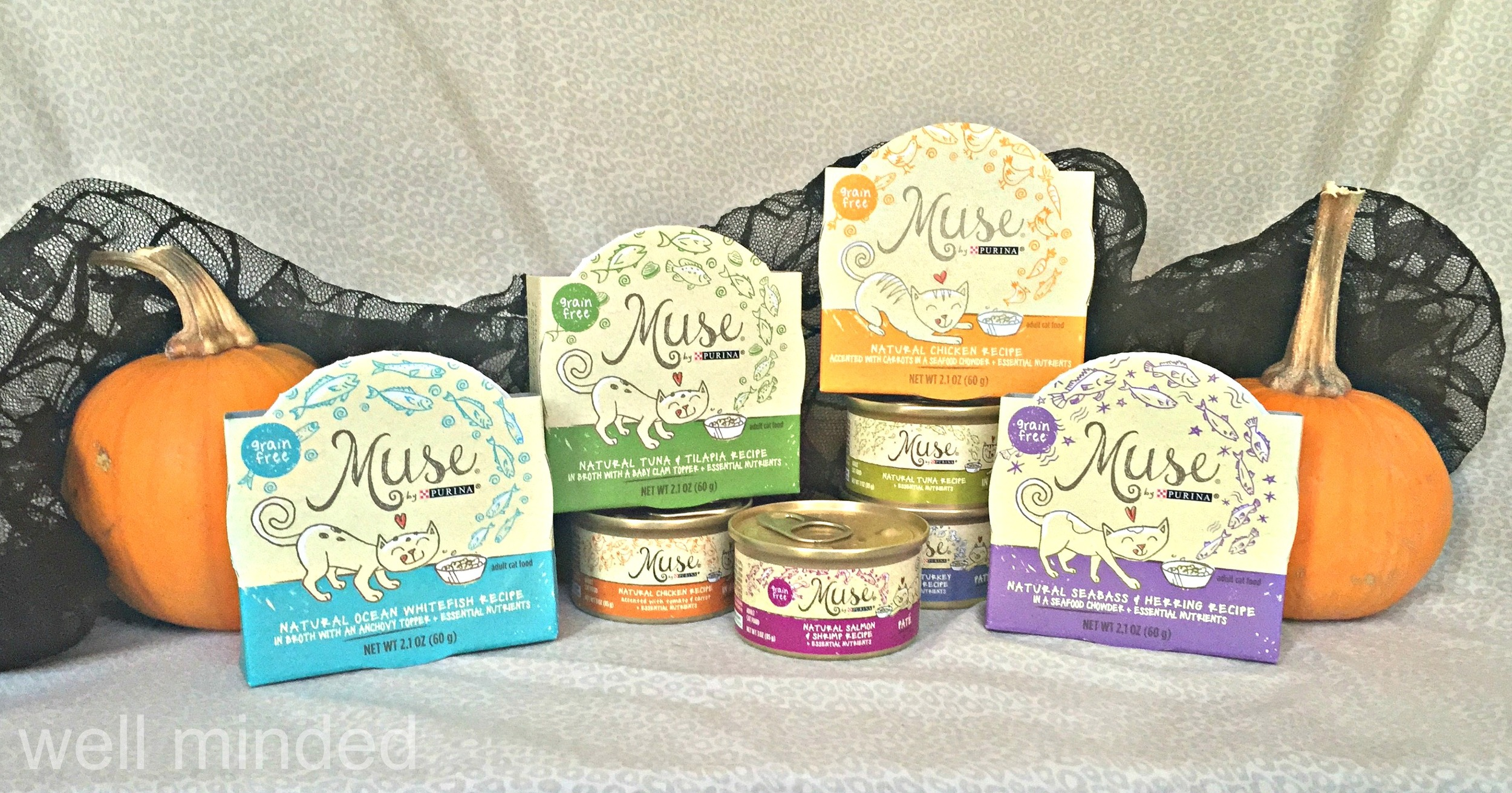 Purina Muse offers a huge variety of grain-free natural nutrition options for your cat. We chose these to try first.