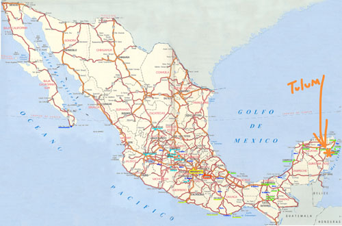 If you're wrinkling your brow about where Tulum is, it's about a two-hour drive south of Cancun on the Caribbean side of Mexico. Map source: kateschelter.com