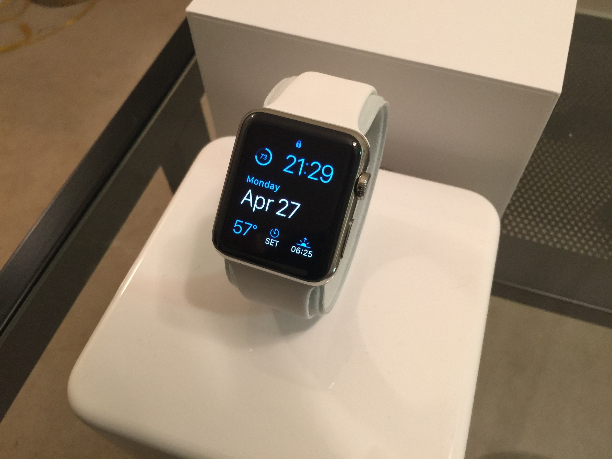 The AppleWatch looking pristine right out of the box