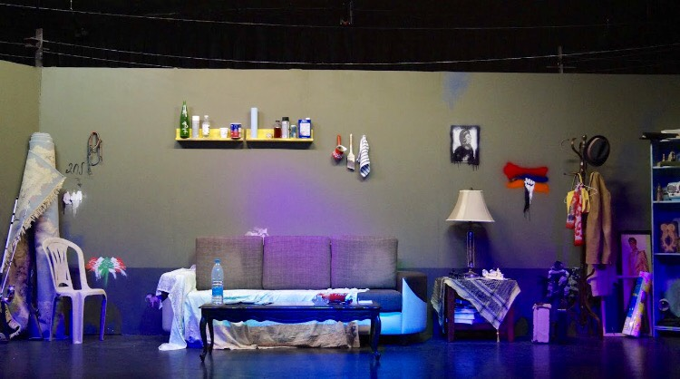 The set (stage and art) created for the Pink Elephant play. Staged at the ARTN Theatre in Glendale, Ca. 2017
