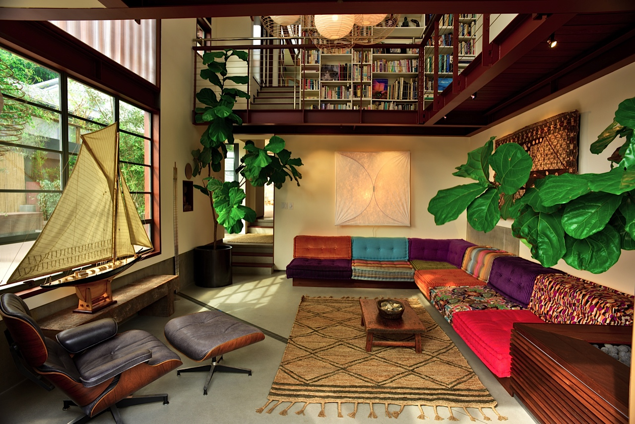 Living Area with Library Bridge