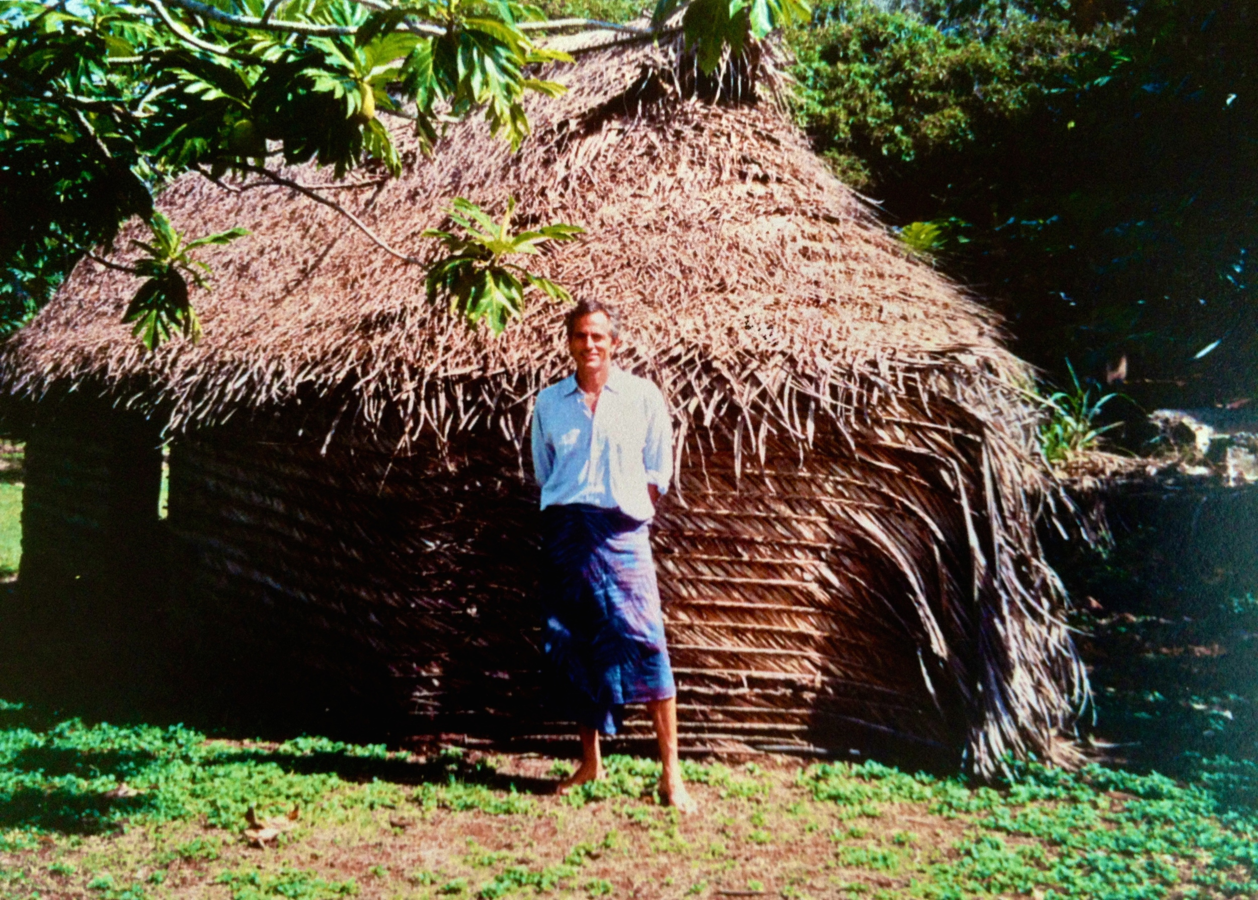 Indigenous hand-woven home from palm fronds in Lau Group, Figi