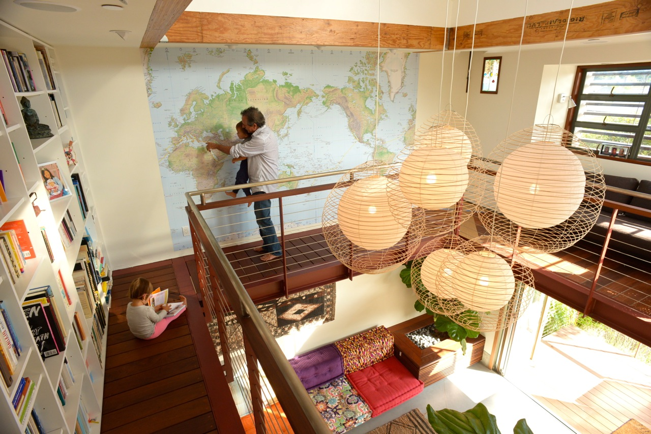 Wall mural on nine-year circumnavigation voyage on living mezzanine