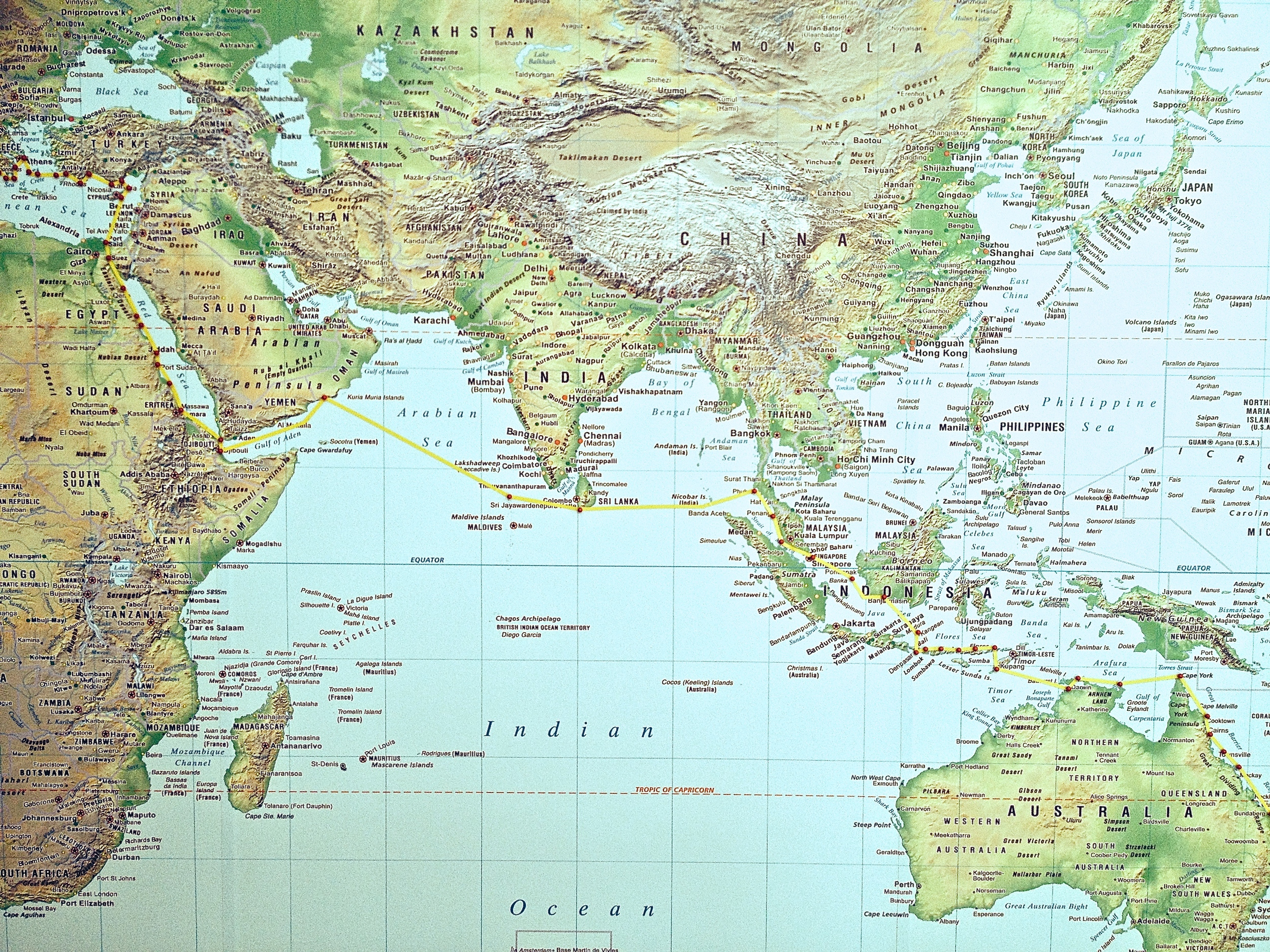 New Zealand toAustralia, Indonesia, Singapore, Malaysia, Thailand, Borneo, Oman, Djibouti, Eritrea, Sudan & Egypt