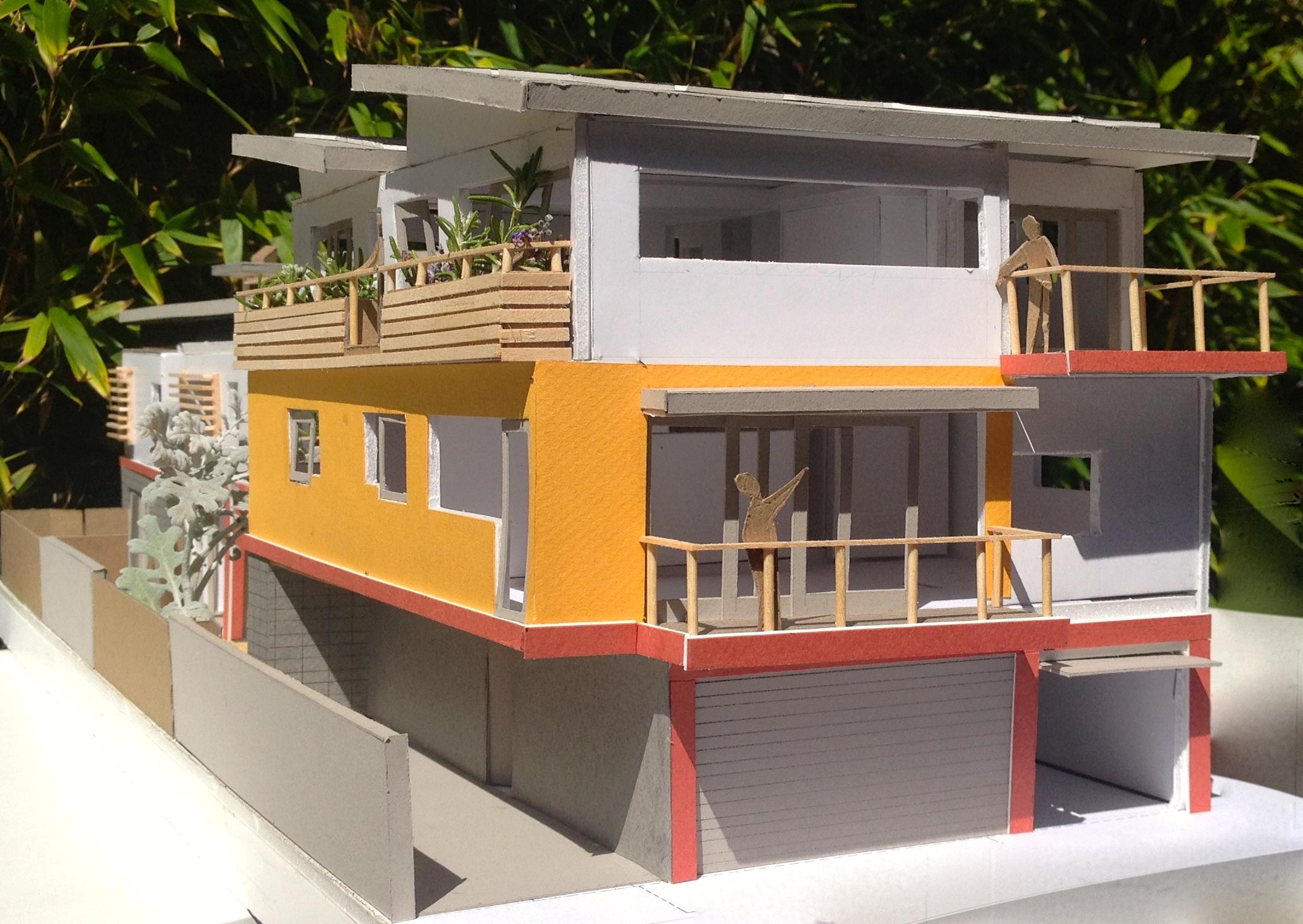 Second unit balconies & alley parking