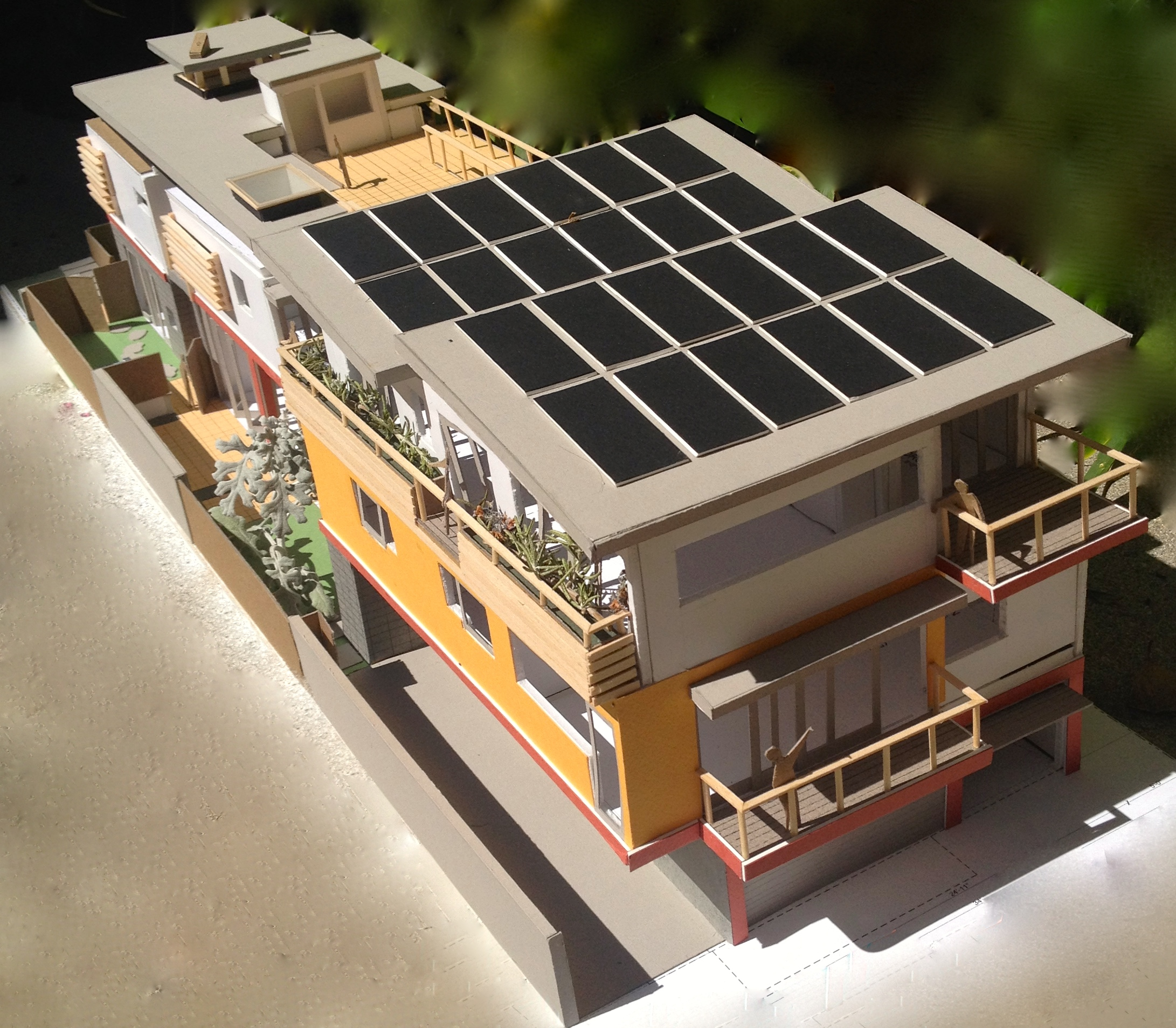 Aerial view of solar array & roof garden