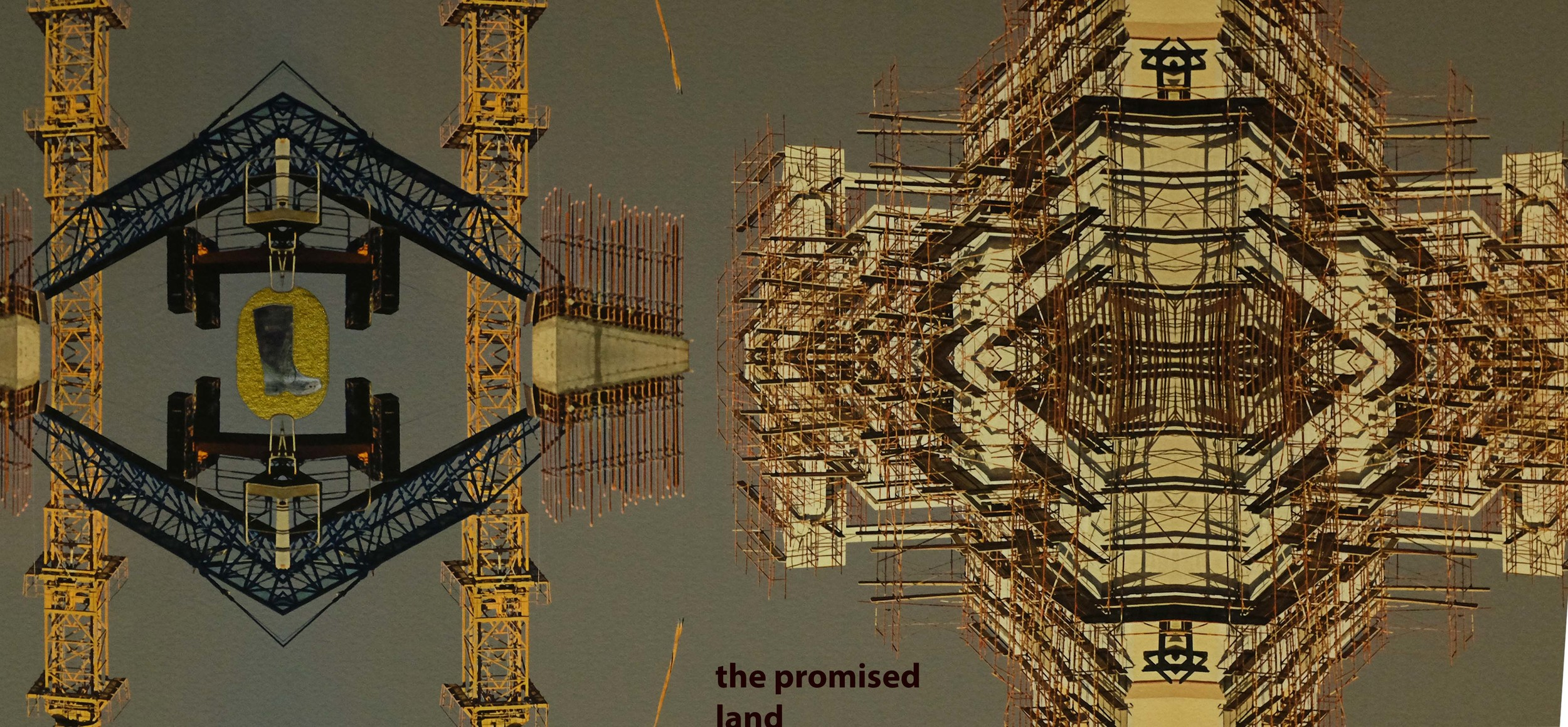 THE PROMISED LAND   Zahra Jewanjee's work inhabits a place presently being constructed with an armature of hope and uncertainty. Masking this construction in progress, wallpaper is employed to reflect on the fabric of the structure itself. The Promised Land drafts a geometric plane that defies order and describes an intangible idea with a commonplace vocabulary.  Curated by Usman Saeed  2014