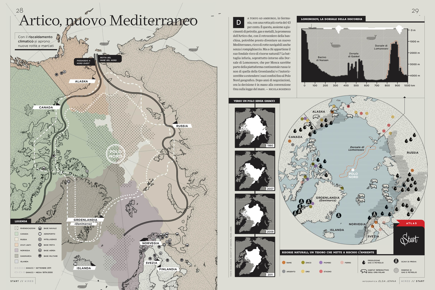 Wired Italy - Infographic on the melting of arctic ice.