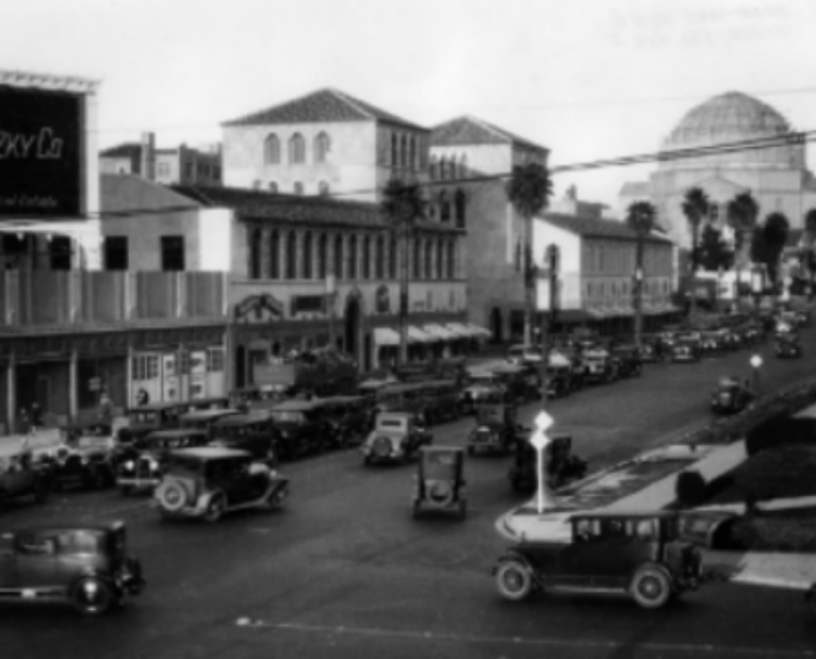 Beverly Hills traffic jam -Wilshire and Santa Monica  1920's