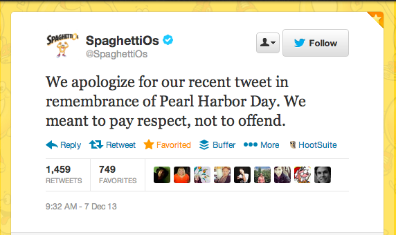 Uh oh, SpaghettiOs: Campbell's Soup apologizes for their Pearl Harbour tweet. They have removed the original tweet.