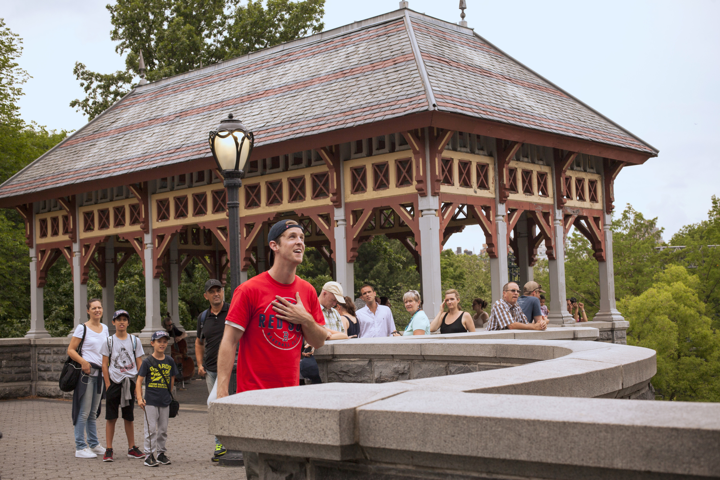Keith as Romeo in pop-up  Romeo & Juliet , professing his love to Juliet at Central Park's Belvedere Castle (June 2016)