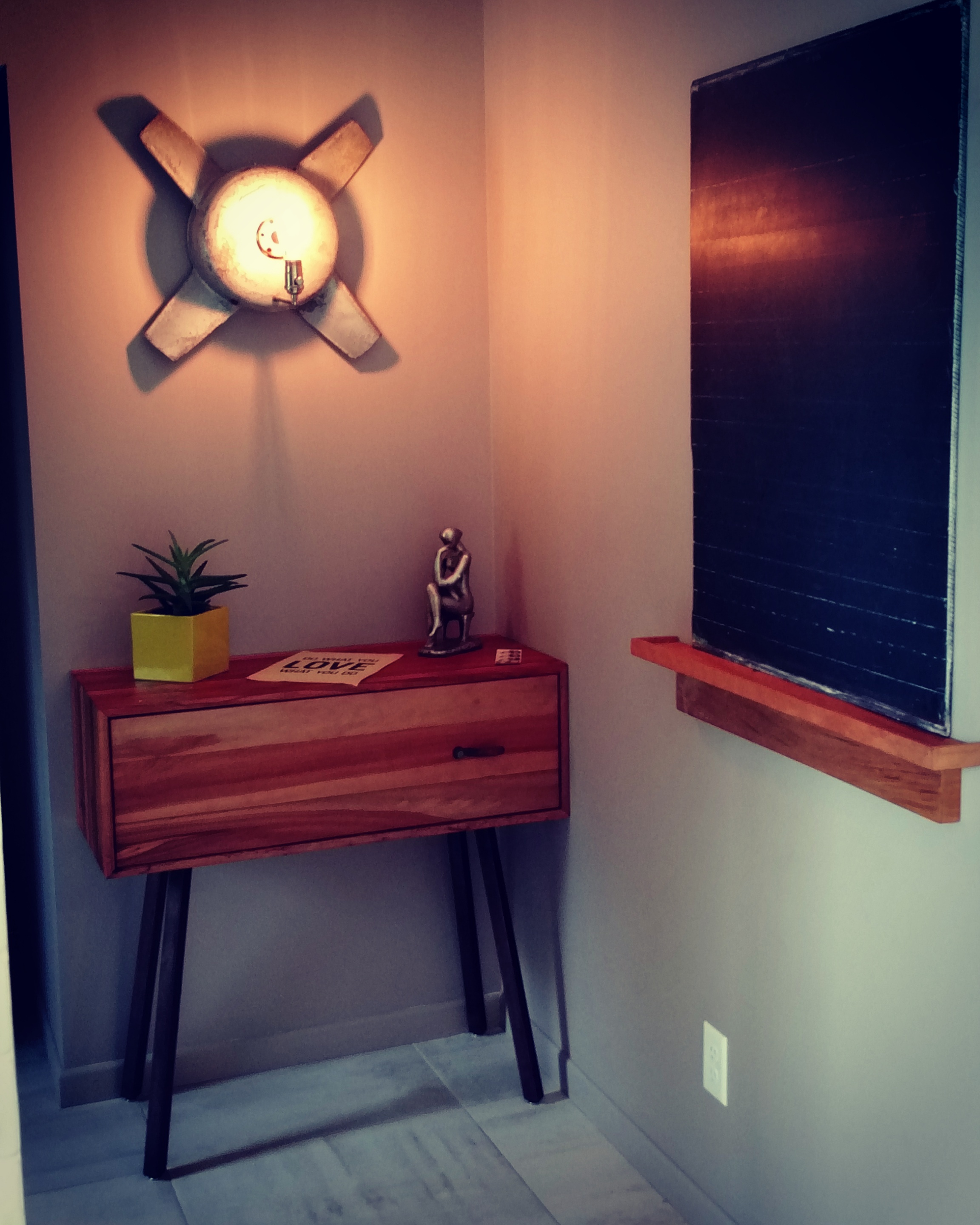 """Light Fixture, """"Mail Drop,"""" Chalboard/Tray"""